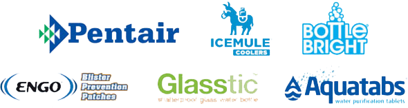 Pentair, Icemule, Bottle Bright, ENGO, Glasstic, and Aquatabs logos